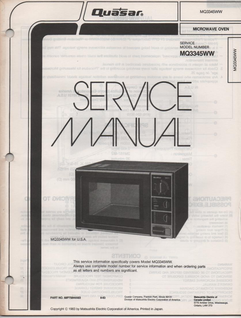 MQ3345WW Microwave Oven Service Operating Instruction Manual