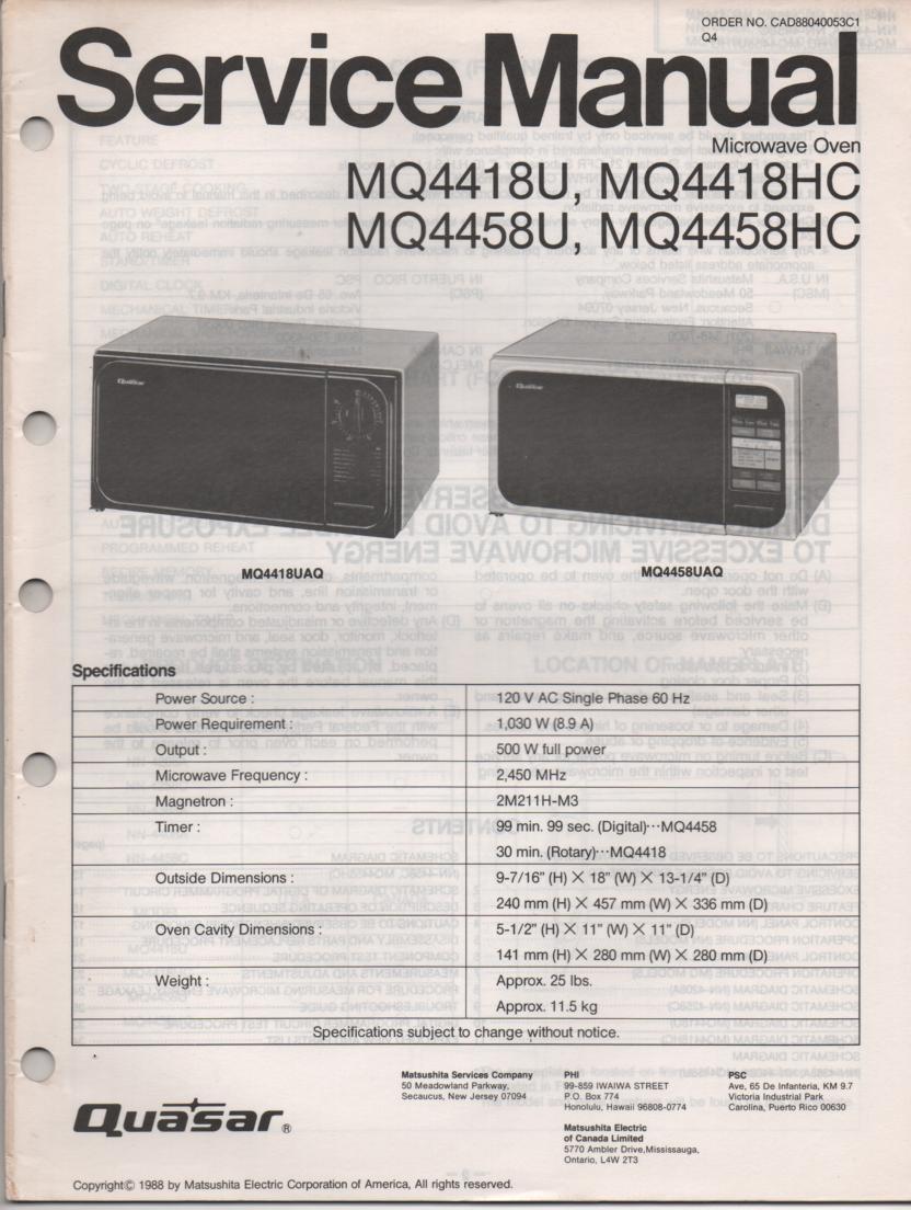 MQ4418U MQ4418HC MQ4458U MQ4458HC Microwave Oven Service Operating Instruction Manual