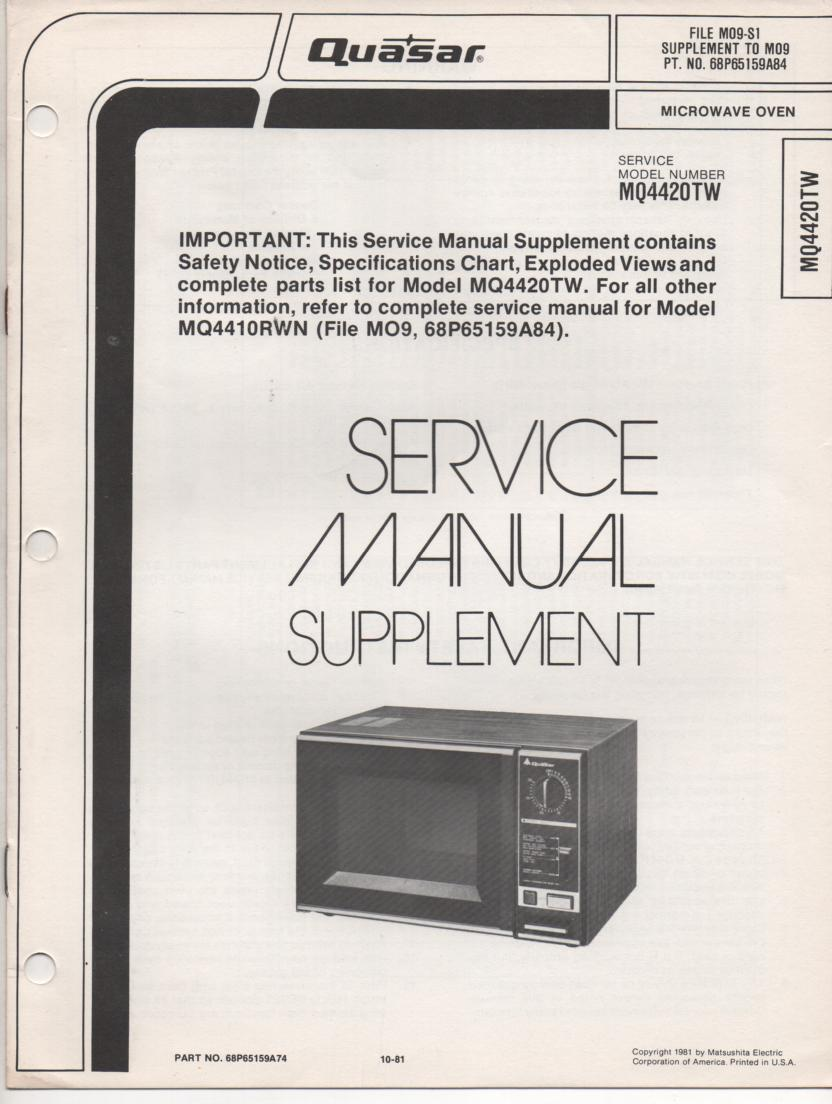 MQ4420TW MQ4418HC Microwave Oven Service Instruction Manual. MQ4410RWN Manual also included..