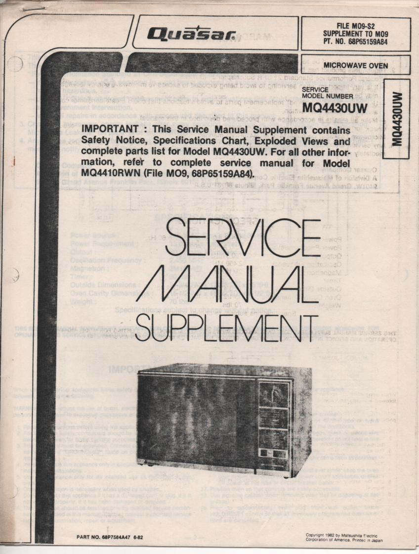 MQ4430UW Microwave Oven Service Instruction Manual