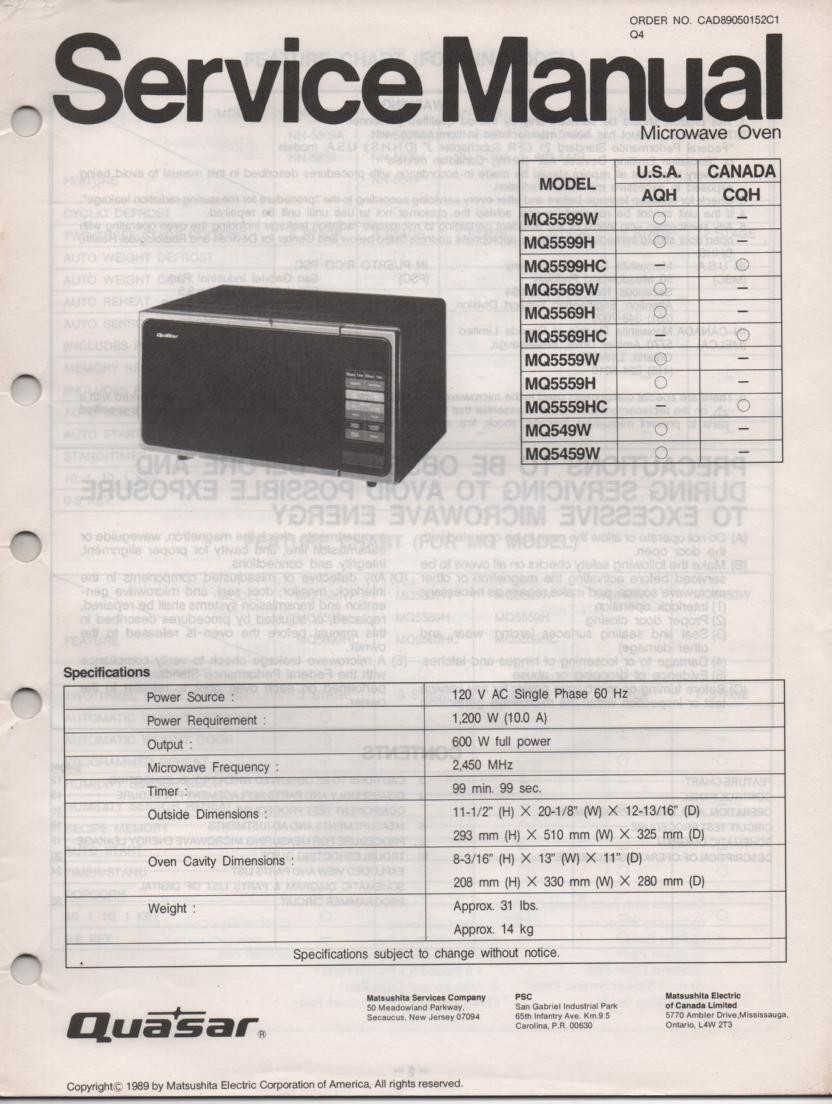 MQ549W Microwave Oven Service Operating Instruction Manual