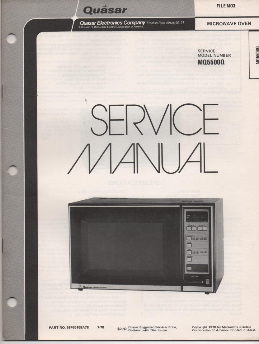 MQ5500Q Microwave Oven Service Operating Instruction Manual
