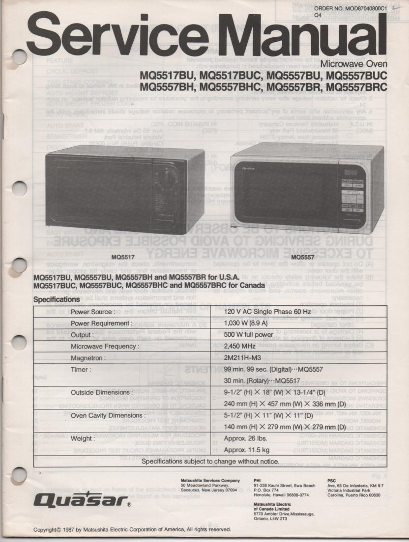 MQ5517BU MQ5517BUC Microwave Oven Service Operating Instruction Manual