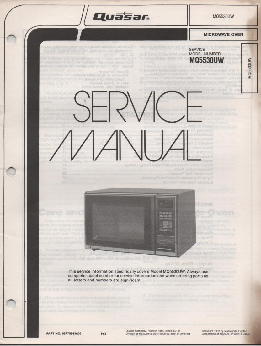 MQ5530UW Microwave Oven Service Operating Instruction Manual