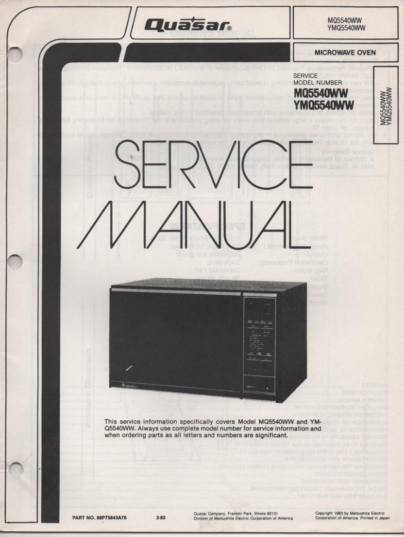 MQ5540WW YMQ5540WW Microwave Oven Service Operating Instruction Manual