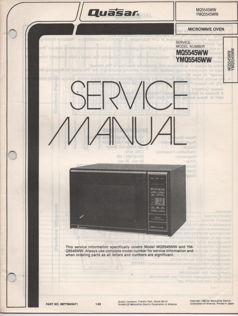 MQ5545WW YMQ5545WW Microwave Oven Service Operating Instruction Manual