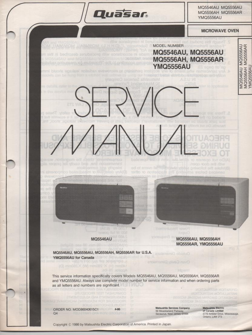 MQ5546AU Microwave Oven Service Operating Instruction Manual
