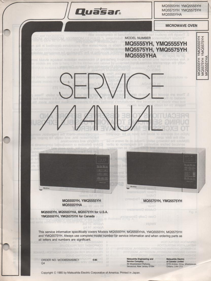 Mq5575yh Ymq5575h Mq5555yh Microwave Oven Service Operating Manual