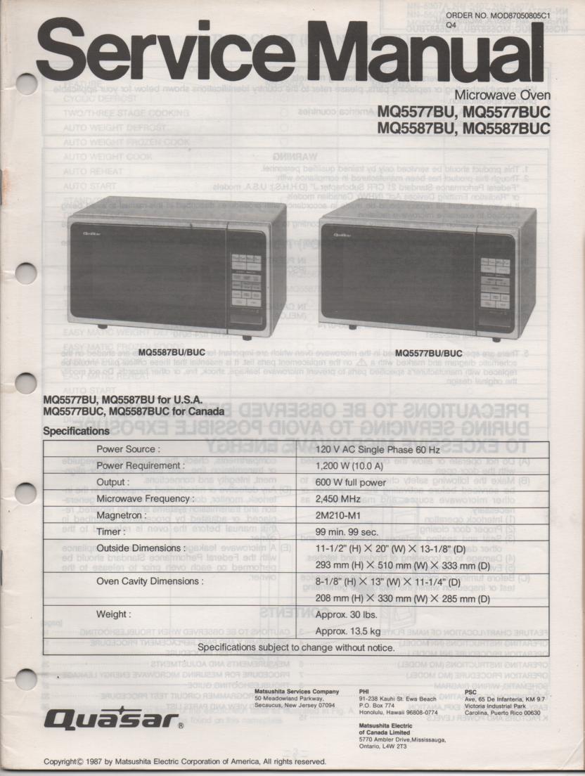 MQ5587BU MQ5587BUC MQ5577BU Microwave Oven Operating Service Manual