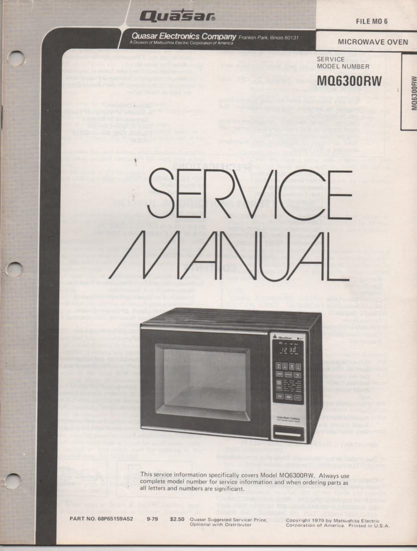 MQ6300RW Microwave Oven Operating and  Service Manual