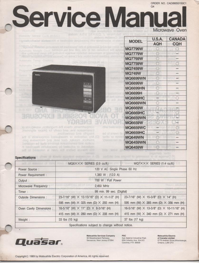 Quasar Mq749 Mq649 Microwave Oven Service Operating