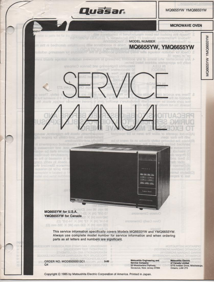 MQ6655YW Microwave Oven Operating Service Instruction Manual