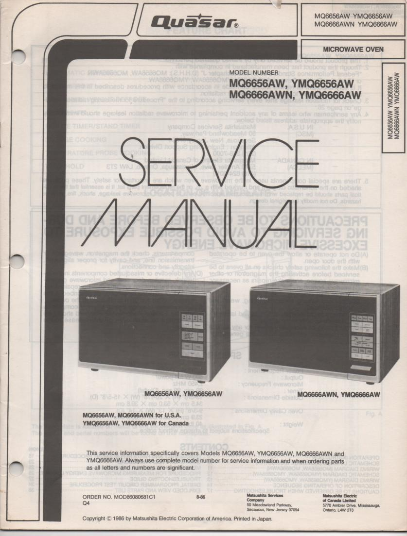 MQ6656AW YMQ6656AW Microwave Oven Operating Service Instruction Manual