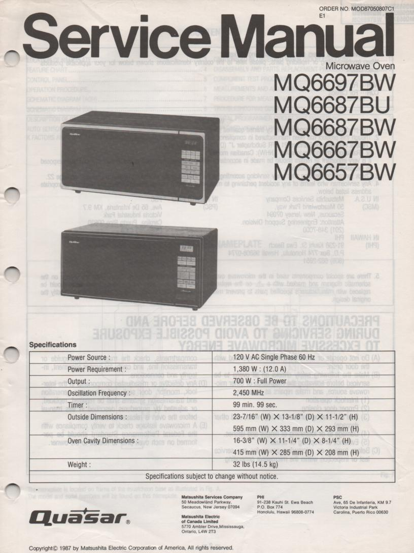 MQ6657BW Microwave Oven Operating Service Instruction Manual