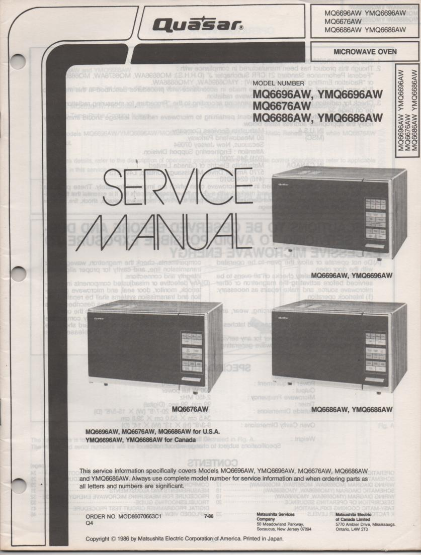 MQ6686AW YMQ6686AW MQ6676AW Microwave Oven Operating Service Instruction Manual
