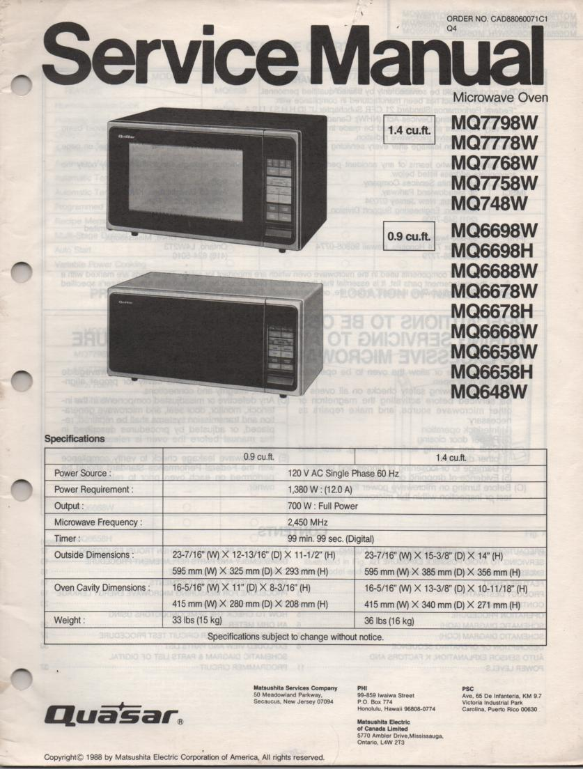 MQ6698H MQ6698W MQ648W Microwave Oven Operating Service Instruction Manual