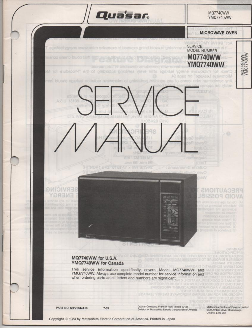 Microwave Ovens Service manual Ge on