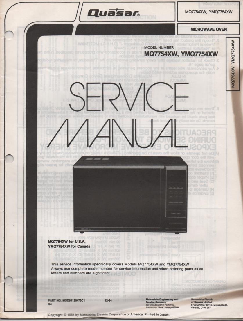 MQ7754XW YMQ7754XW Microwave Oven Operating Service Instruction Manual