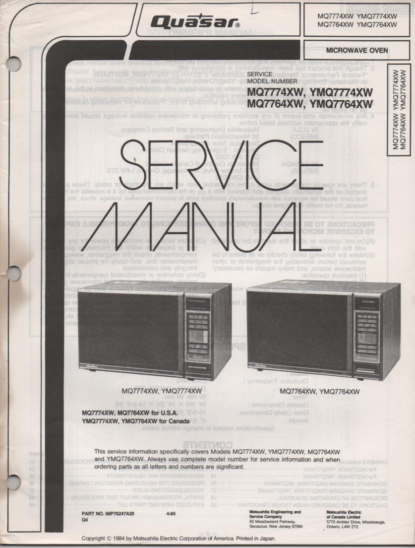 MQ7774X YMQ7774X  MQ7764X YMQ7764X Microwave Oven Operating Service Instruction Manual