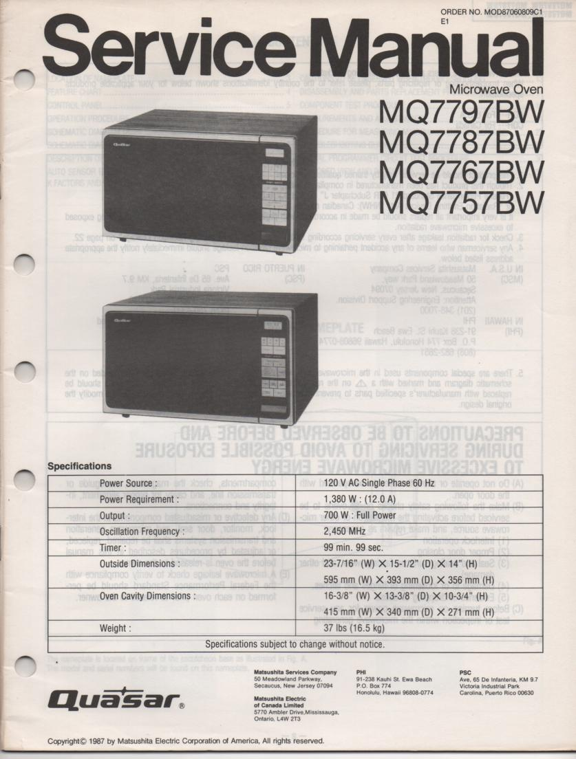 MQ7787BW MQ7757BW Microwave Oven Operating Service Instruction Manual