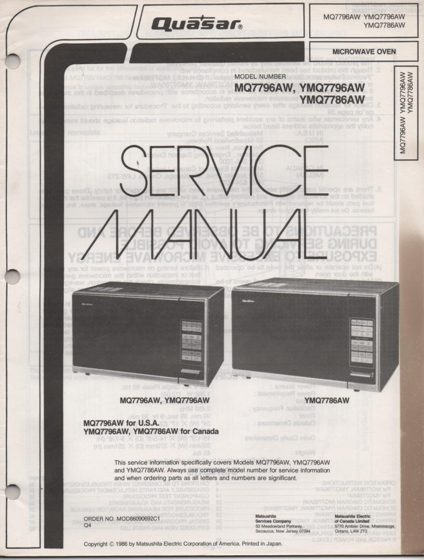 MQ7796AW YMQ7796AW MQ7786AW Microwave Oven Operating Service Instruction Manual