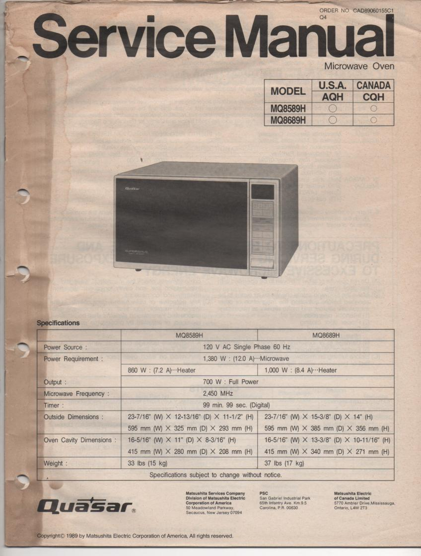 MQ8689H MQ8589H Microwave Oven Operating Service Instruction Manual