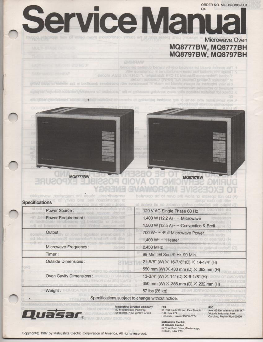 MQ8777BW MQ8777BH Microwave Oven Operating Service Instruction Manual