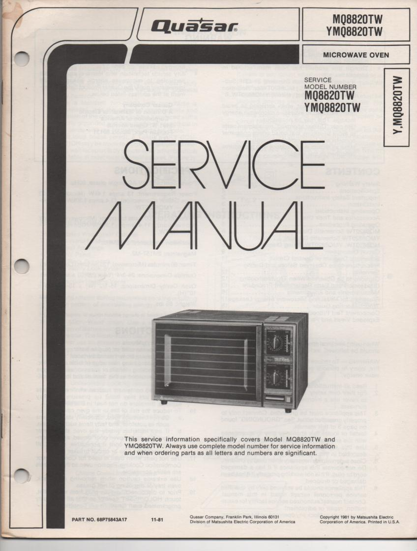 MQ8820TW YMQ8820TW Microwave Oven Operating Service Manual