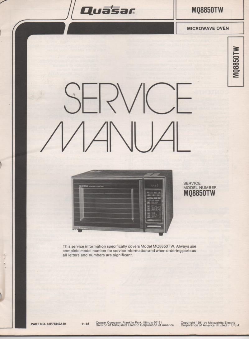 MQ8850TW Microwave Oven Operating Service Manual