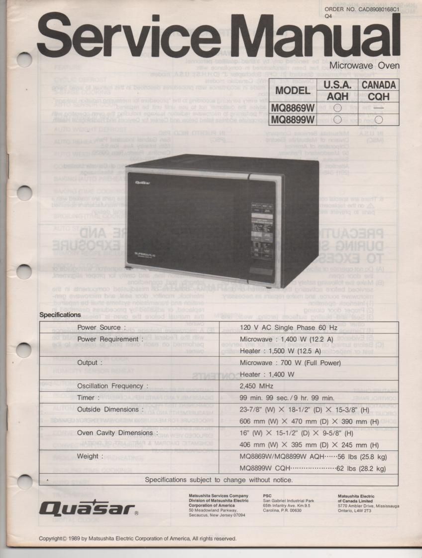 MQ8869W MQ8899W Microwave Oven Operating Service Manual