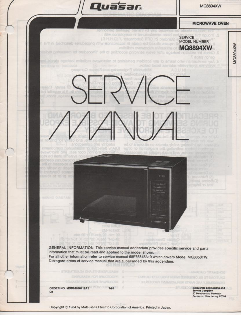 MQ8894XW Microwave Oven Service Operating Instruction Manual