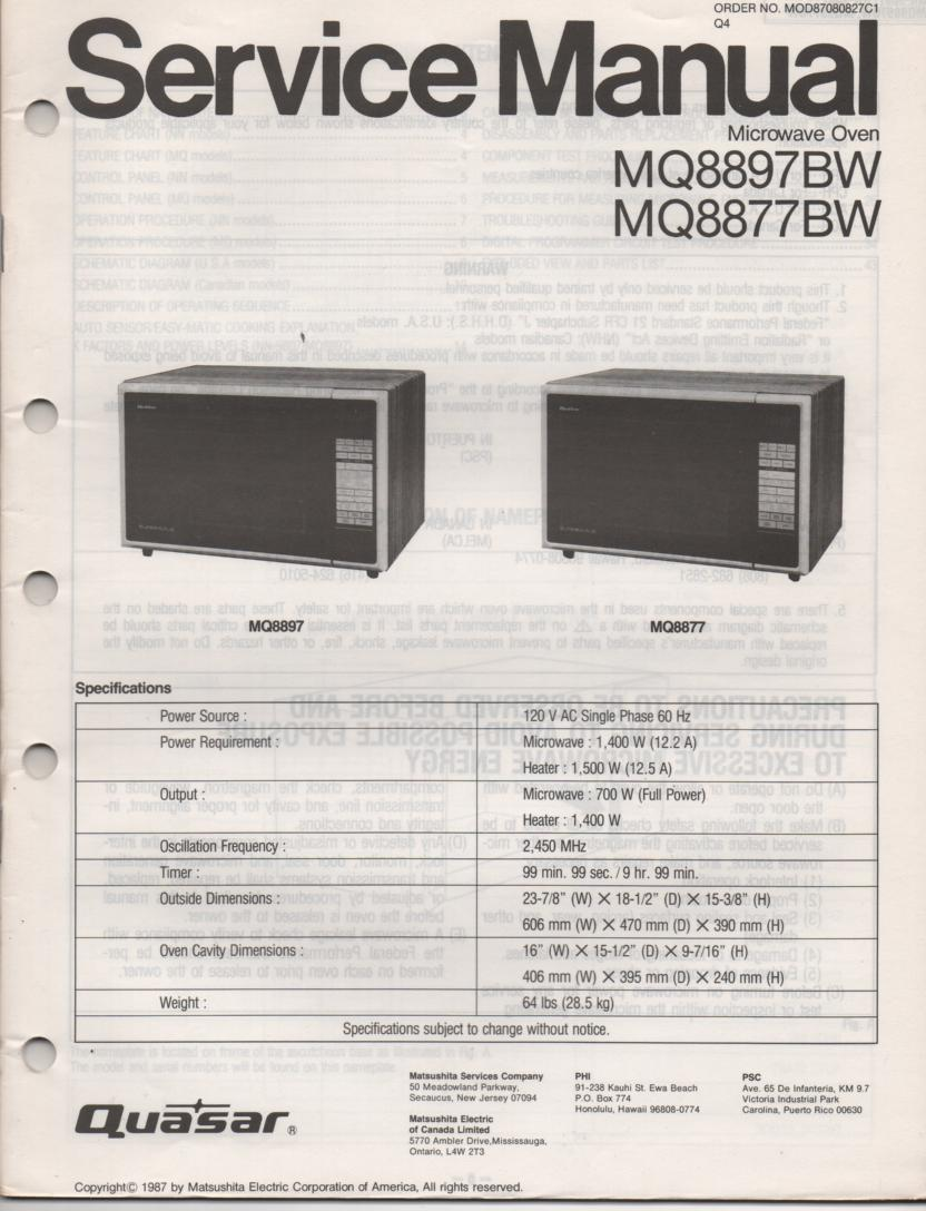 MQ8897BW MQ8877BW Microwave Oven Operating Service Instruction Manual