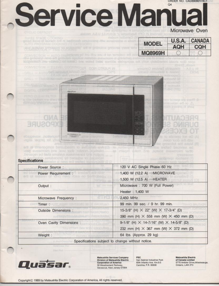 MQ8969H Microwave Oven Service Operating Manual