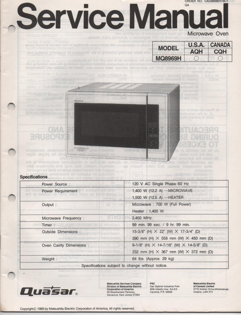 Quasar Mq8969h Microwave Oven Service Operating Manual