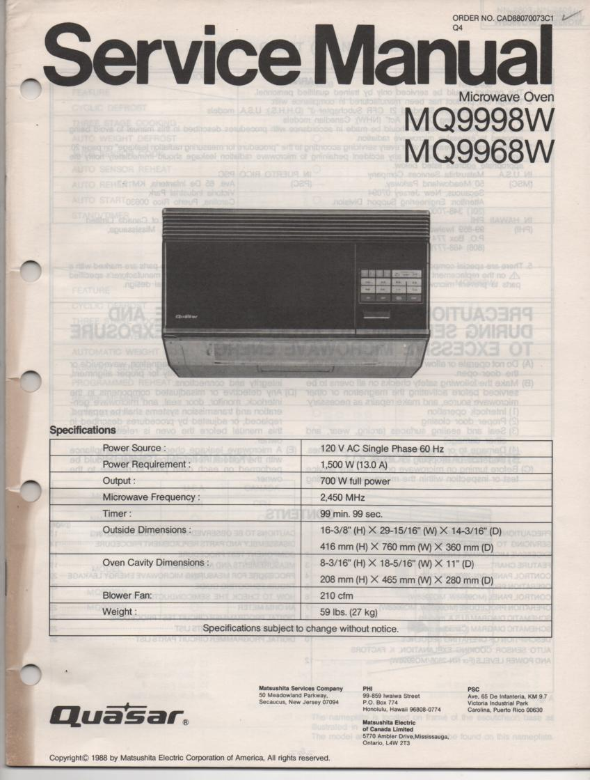 MQ9968W MQ9998W Microwave Oven Service Operating Instruction Manual