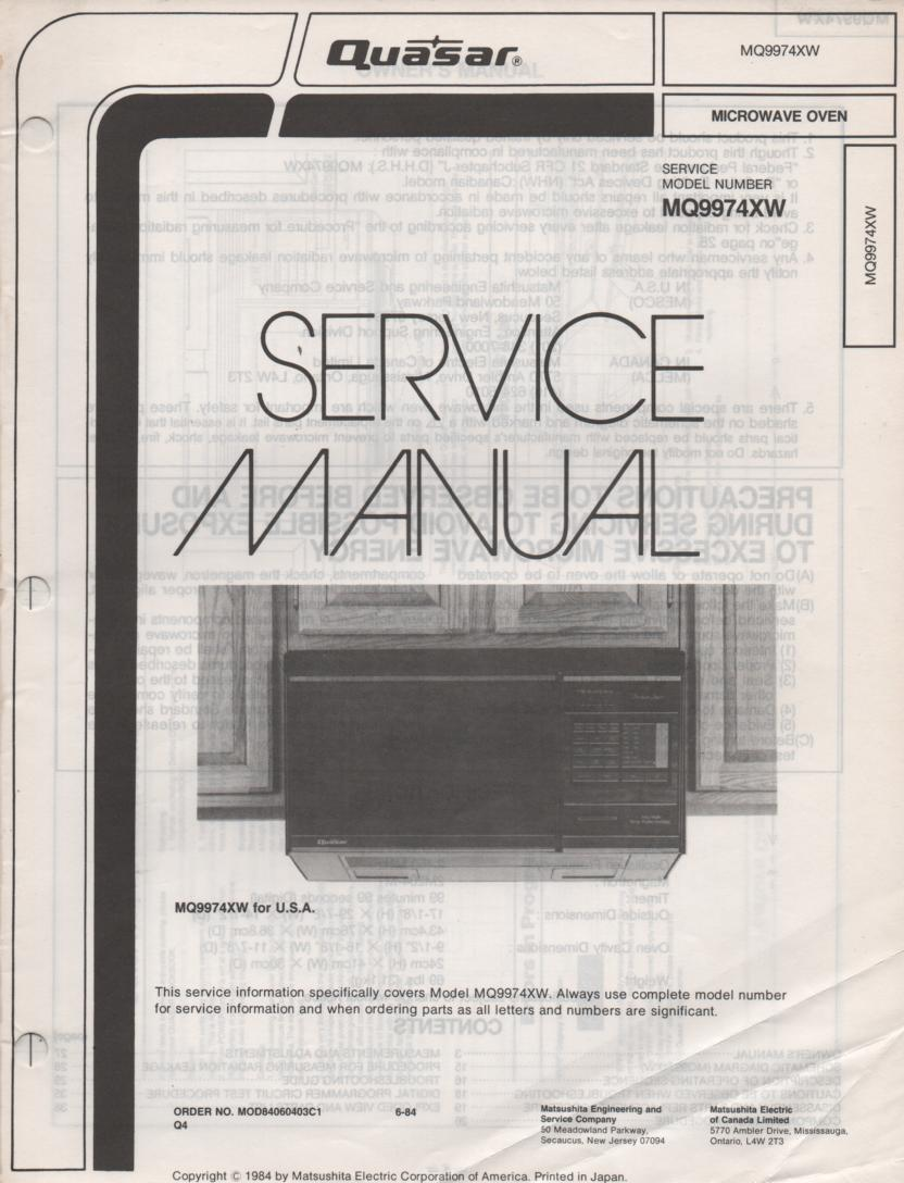 Quasar Mq9974xw Microwave Oven Service Operating Manual