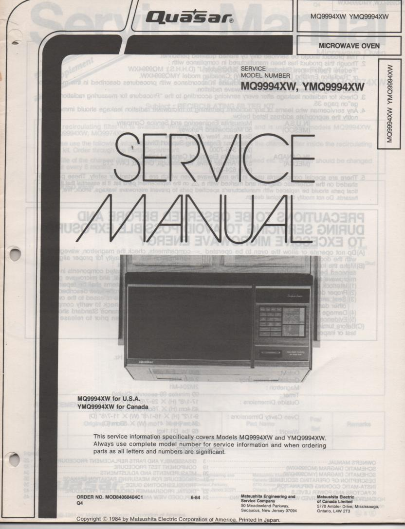 MQ9994XW YMQ9994XW Microwave Oven Service Operating Instruction Manual