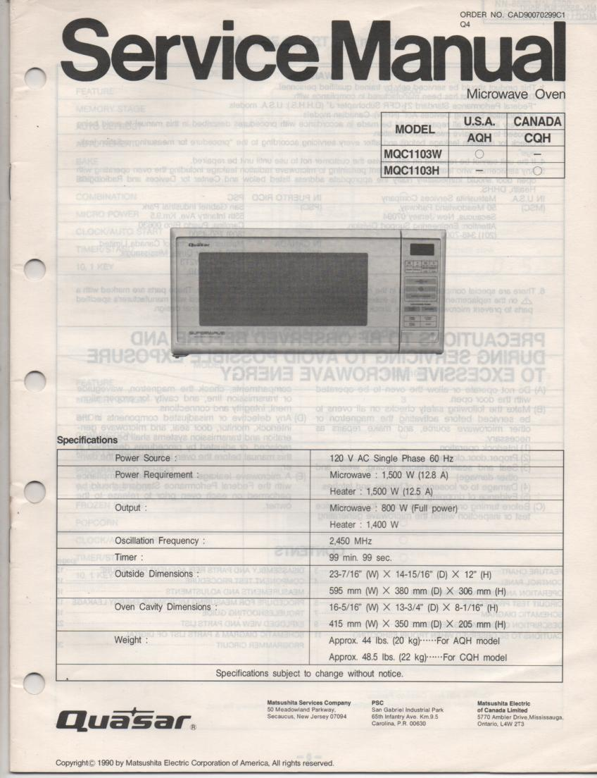MQC1103H MQC1103W Microwave Oven Service Operating Instruction Manual