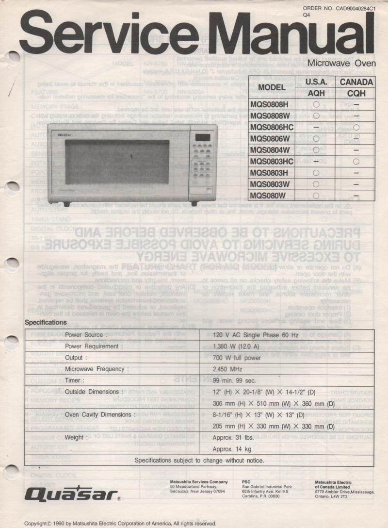 MQS0806W MQS0806HC MQS080W Microwave Oven Service Operating Instruction Manual