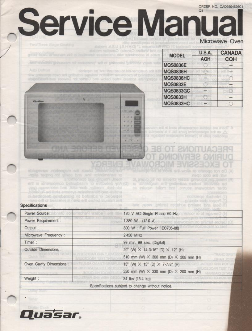 MQS0833E MQS0833H MQS0833GC MQS0833HC Microwave Oven Service Operating Instruction Manual