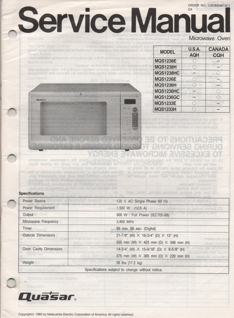 MQS1233E MQS1233H Microwave Oven Service Operating Instruction Manual