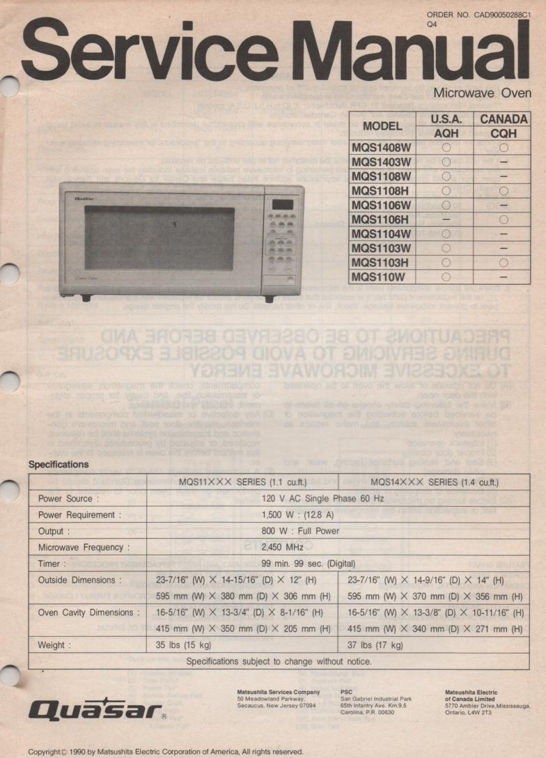 MQS1403W MQS110W  Microwave Oven Service Operating Instruction Manual