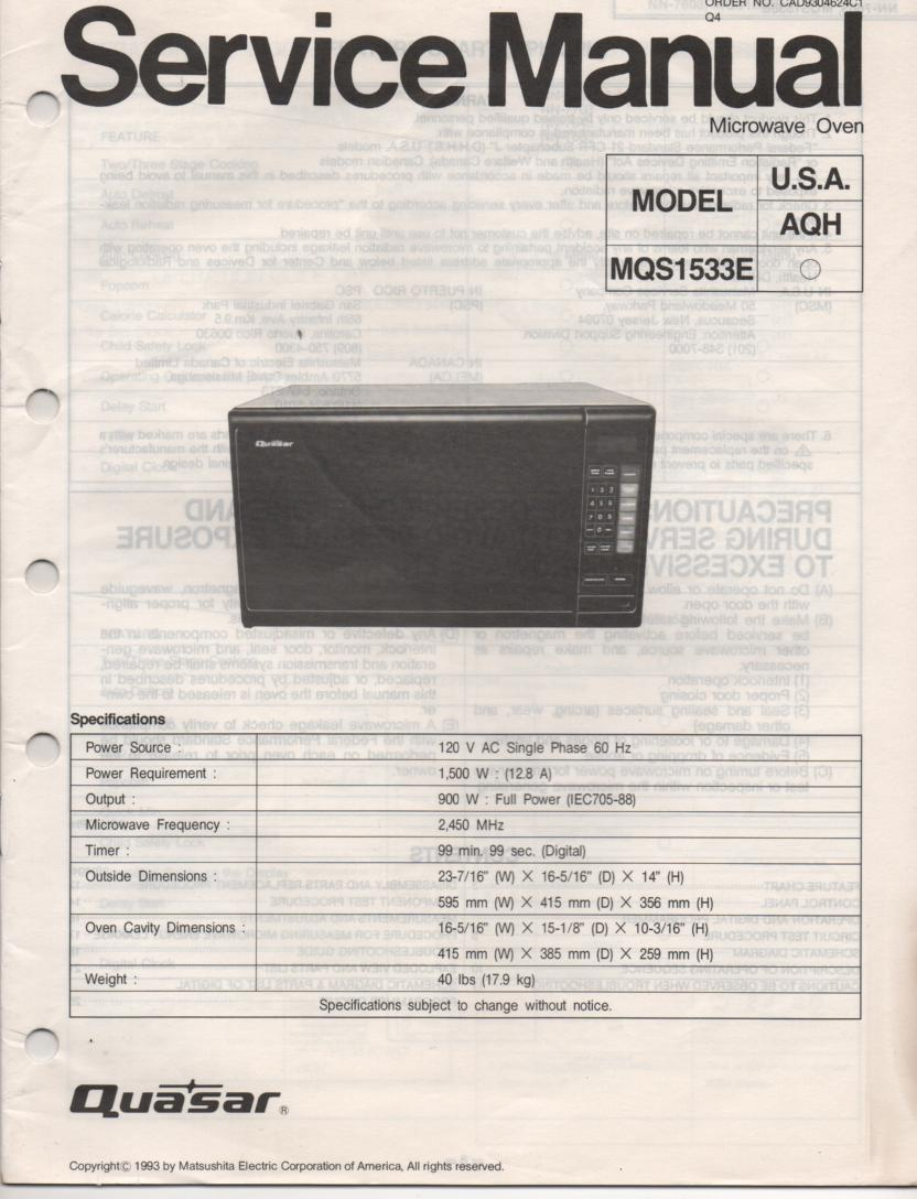 MQS1533E Microwave Oven Service Operating Instruction Manual