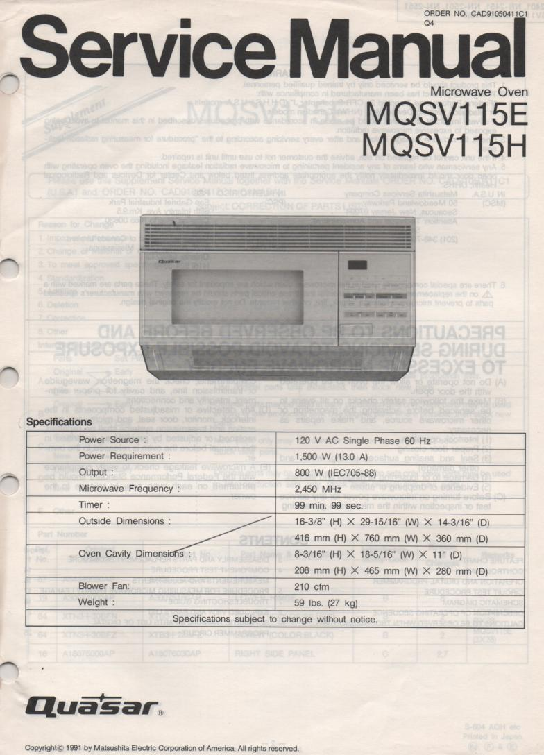 Quasar Mqsv E Mqsv H Microwave Oven Service Instruction Manual on Zenith Tv Manuals