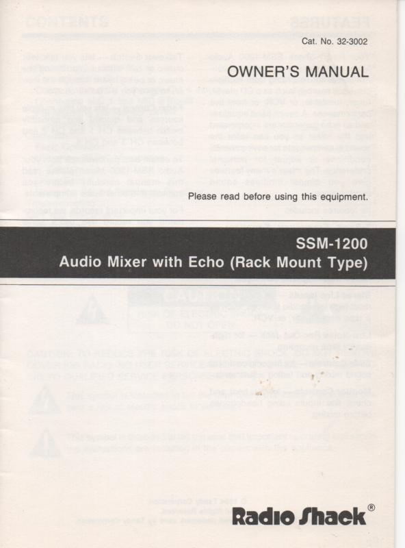 SSM-1200 AudioMixer w/ Echo Owners Manual...    32-3002