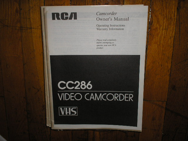 CC286 VHS Camcorder Operating Instruction Manual