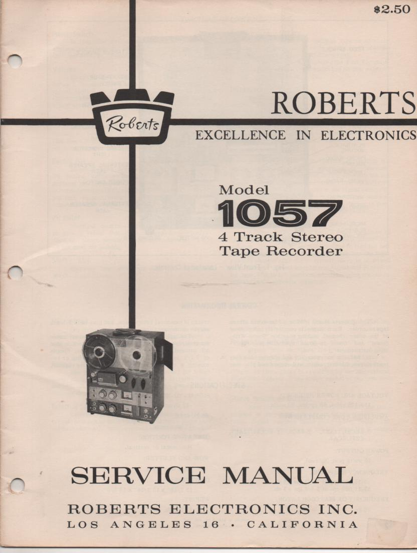 1057 4 Track Reel to Reel Service Manual  ROBERTS