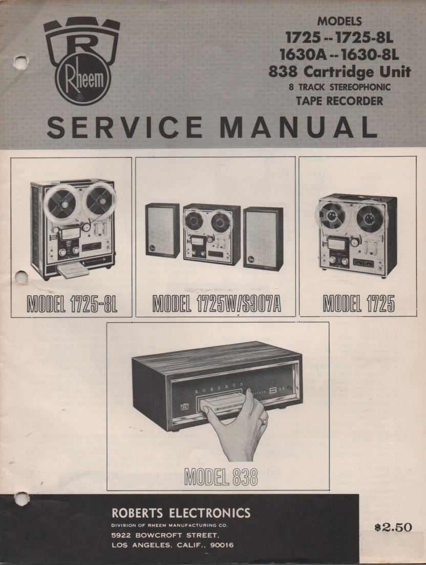 1630A 1630-8L 1725 1725W 1725-8L Reel to Reel Service Manual  ROBERTS