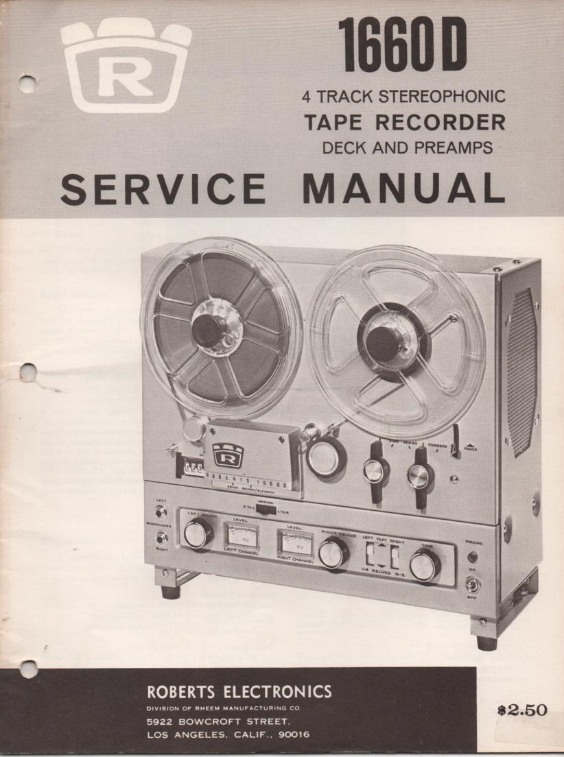 1660D Reel to Reel Service Manual  ROBERTS