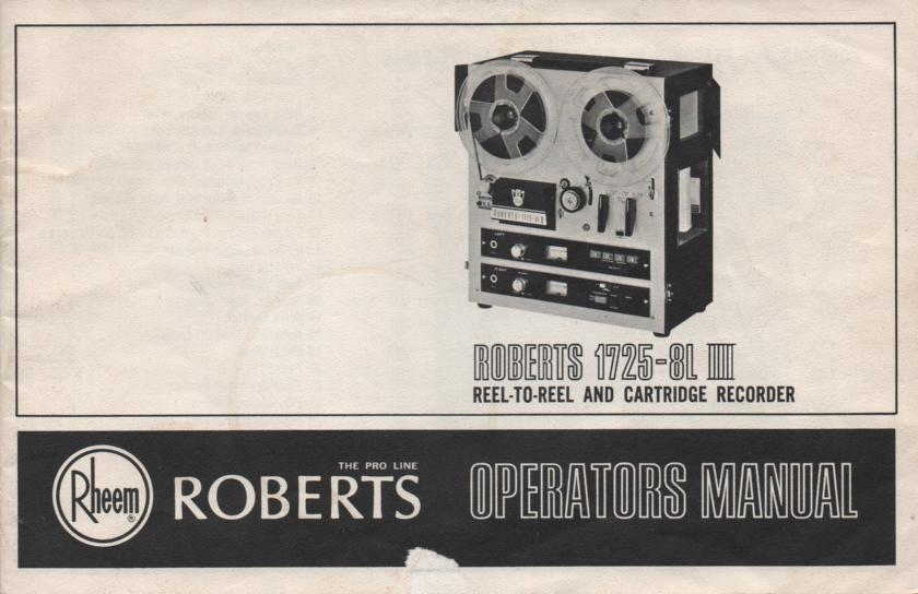 1725-8L III 3 8-Track Stereo Reel to Reel Tape Deck Owners Manual  ROBERTS